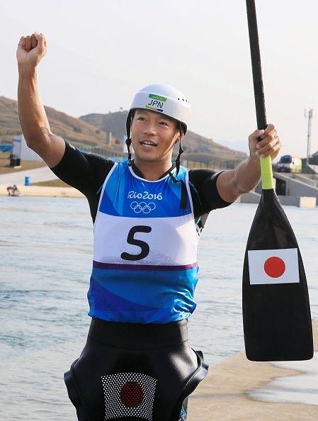 #RIO2016 Japanese canoeist Takuya Haneda celebrates after winning the bronze in the men's canoe single slalom at the Rio de Janeiro Olympics on Aug 9 2016...