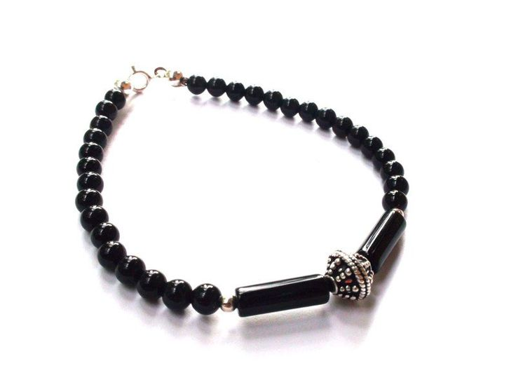 Mens Bracelets – Mens Bracelet - Onyx, 925 silver, Bali silver – a unique product by OlgaJewelryBoutique on DaWanda