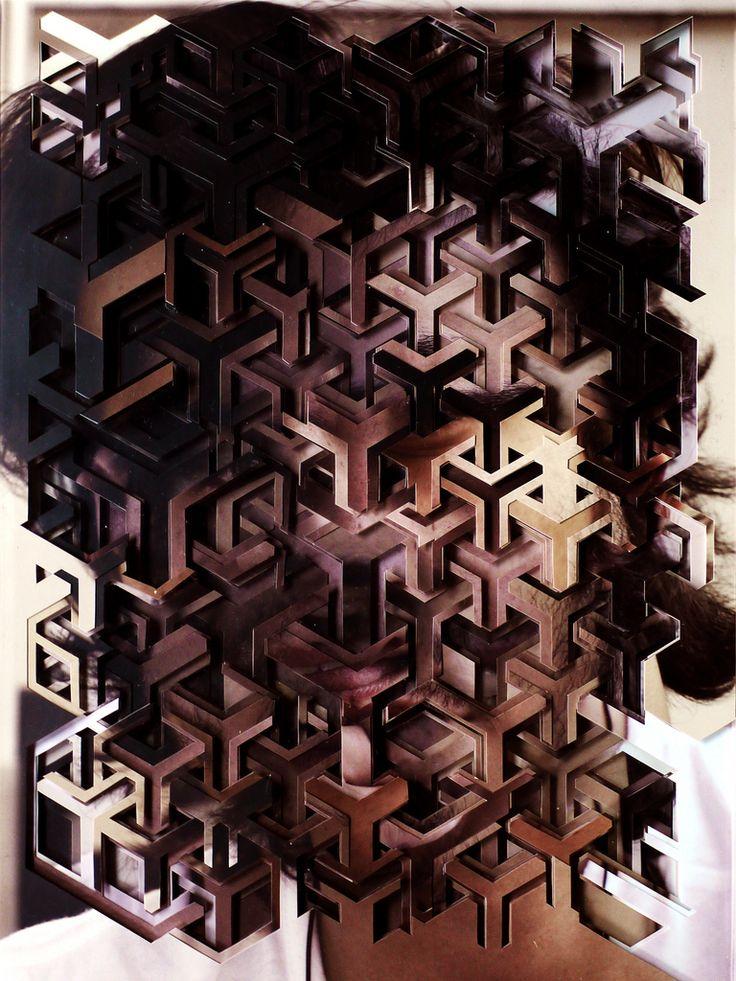 2011  10 fotografias cortadas e sobrepostas entre chapas de acrílico     10 cut-out photographs and acrylic layers   41x31cm