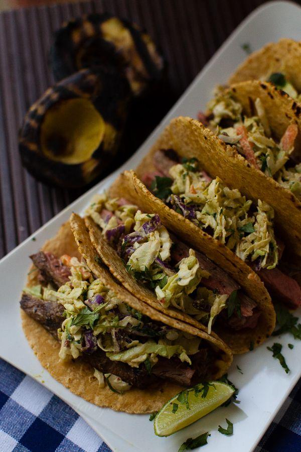 Shiner Marinated Street Tacos with Avocado Chipotle Slaw #tacos #southwest #recipes #beef #avocados