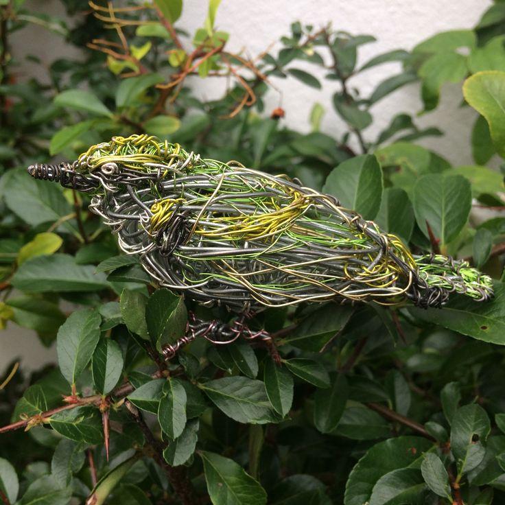 Leaf Warbler wire Bird Sculpture by Paul green