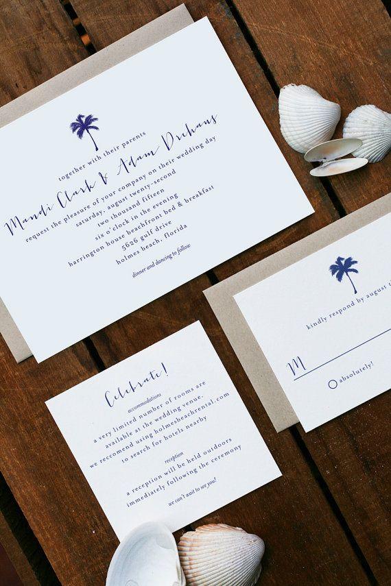reception information on back of wedding invitation%0A Palm Tree Beach Wedding Invitations Inspired by Anna Maria Island  Florida