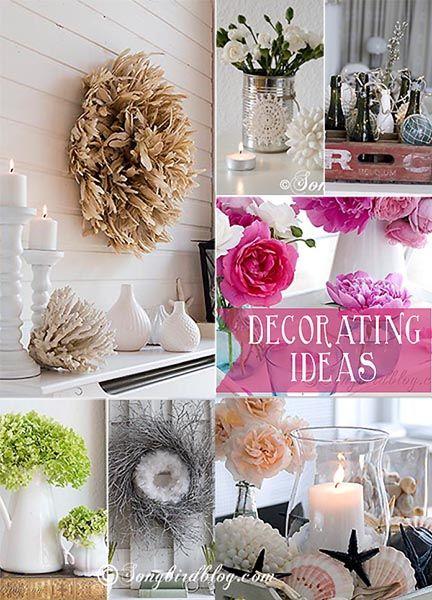 Decorating ideas for mantel decorations and table centerpieces via Songbirdblog.com