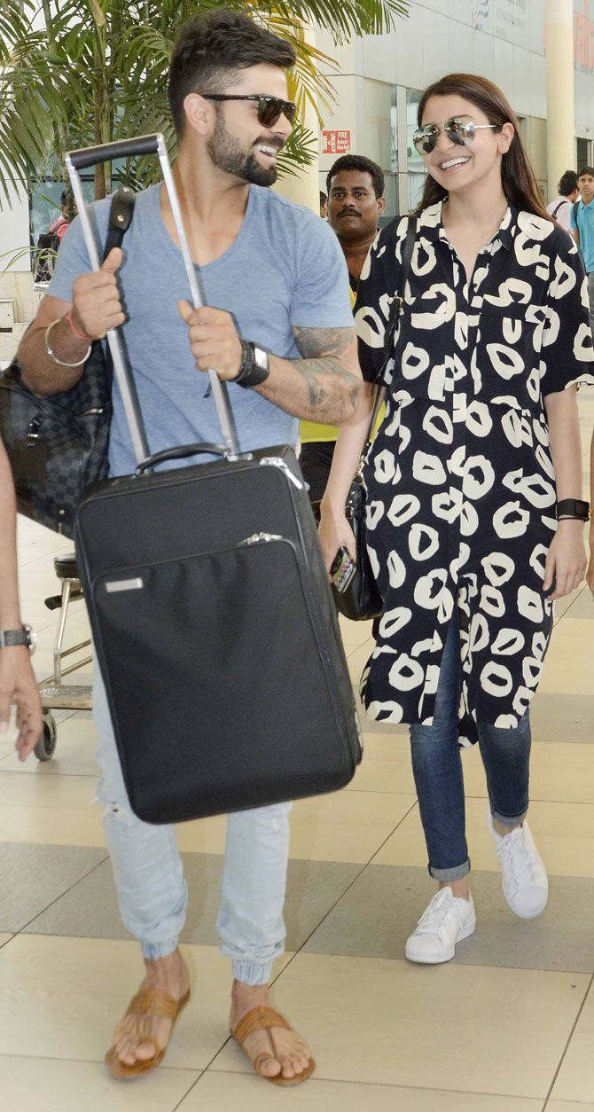 Virat Kohli and Anushka Sharma at Mumbai airport. #Bollywood #Fashion #Style #Beauty #Hot