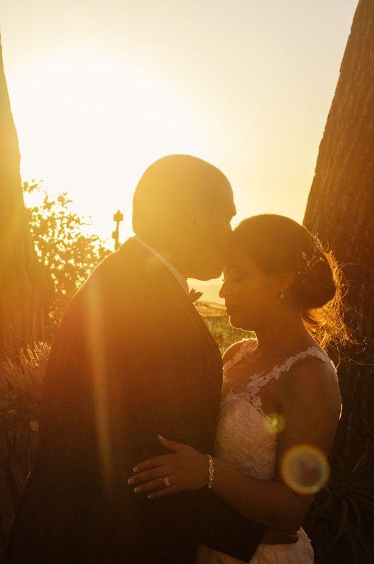Sunset wedding #wedding #goldenlight #bride #kiss