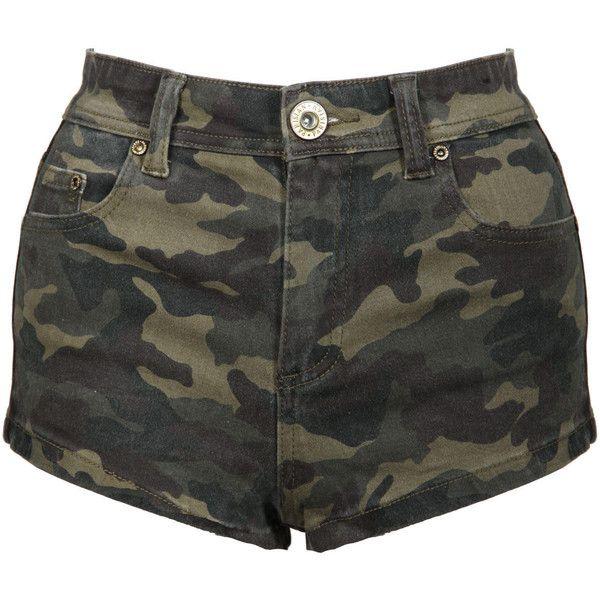 Camouflage Shorts ($17) ❤ liked on Polyvore featuring shorts, bottoms, pants, short, camouflage shorts, zipper shorts, camo print shorts, army green shorts and camo short shorts