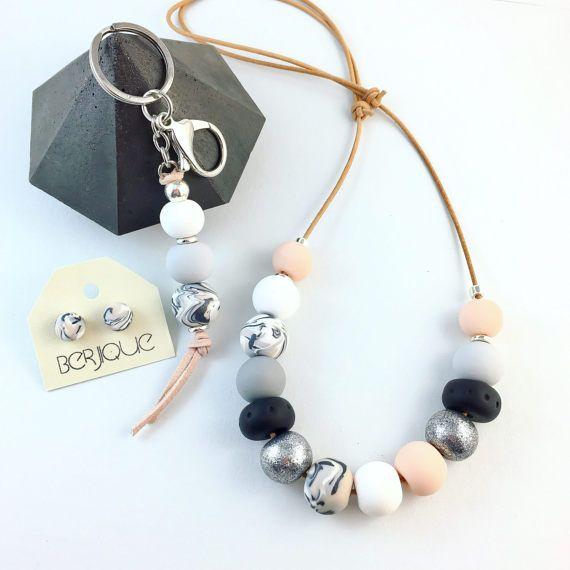 FREE EARRINGS Necklace polymer clay grey flesh black by Berjique