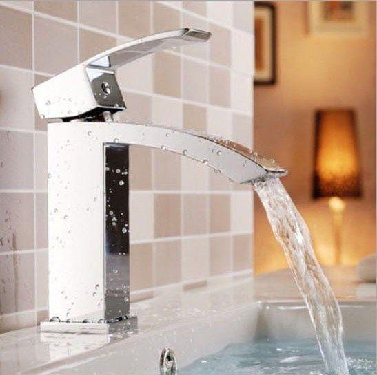 Solid Brass Chrome Tap For Bathroom Waterfall Faucet Single Hole Bathroom Basin Faucet torneira para banheiro