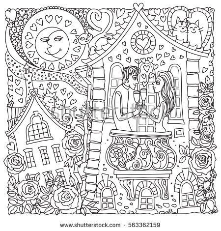 Vector Valentine Day greeting card. Moon, hearts, rose flower silhouette. Adults coloring book square page. Hand drawn zen tangle contour thin line. Black and white sketch. T-shirt print. Batik.