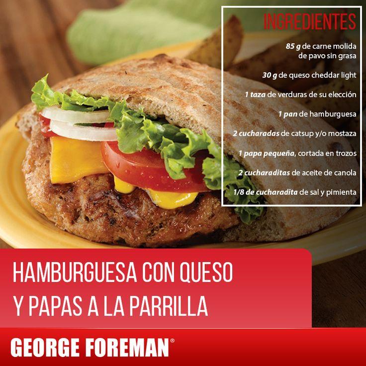 Come sanamente y disfruta de tus alimentos favoritos, como esta hamburguesa con papas a la parrilla.  Preparación:  1. Precalienta la parrilla George Foreman 2. Mezcla la papa con el aceite de canola, sal y pimienta y ponlo a la parrilla de 10 a 12 minutos. 3. Forma la hamburguesa con el pavo molido y coloca en la parrilla de 4 a 5 minutos. 4. Ensambla la hamburguesa con la carne, queso, verduras, catsup/mostaza y sirve. 5. Acompaña con las papas a la parrilla.  #receta #saludable