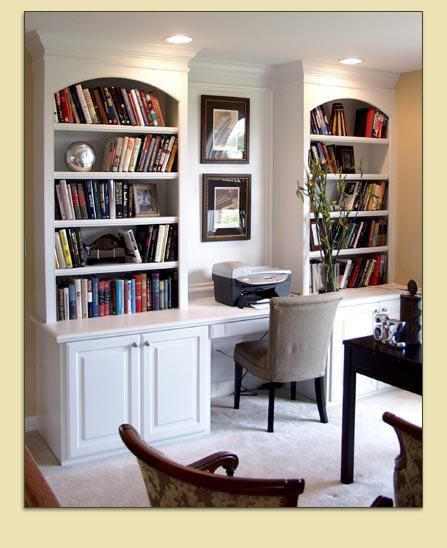 Custom Built-In Bookshelves With Desk Area For Computer