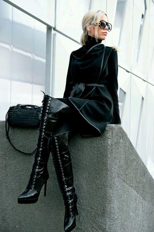 Carmen Grebenisan wearingMarzo Boots - HereBlack Prive Boutique Coat- HereBlack studded Zara bag- HereCazal shades with golden detail- HerePhoto credits: Coman DragosSource:carmengrebenisan - black-mamba