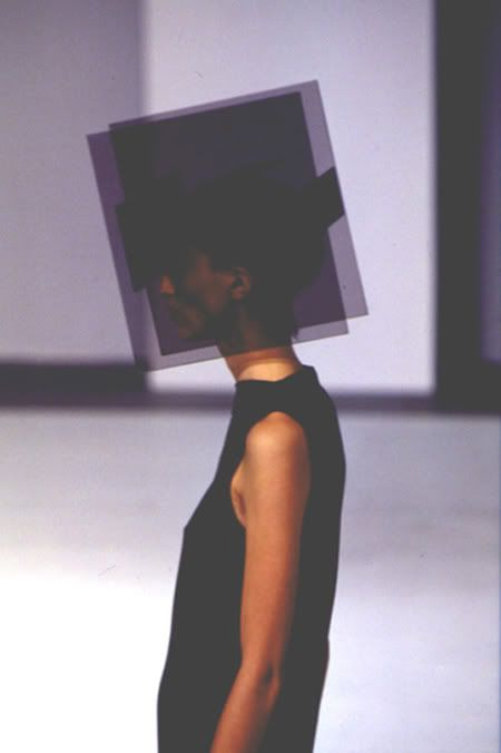 Hussein Chalayan a/w 98.... Conceptual fashion / avantgarde fashion / headwear / hat / geometric / block