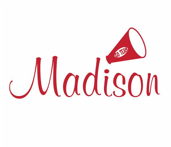 Cheerleader wall decal personalized name vinyl wall decal sports athletics varsity megaphone girls room teen room