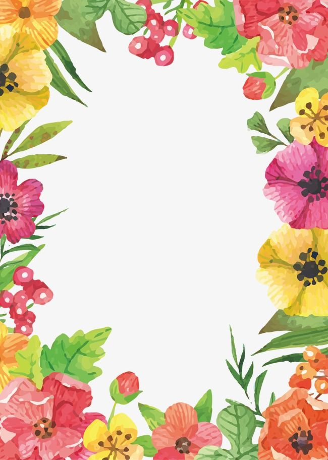 Watercolor Flowers Border In 2020 Flower Frame Watercolor