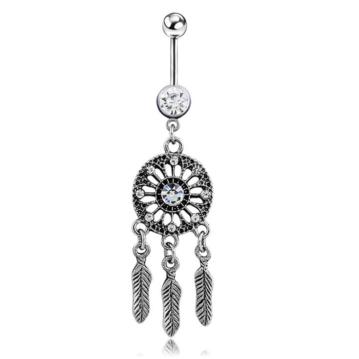 White Crystal Surgical Steel Navel Piercing Nombril Dream Catcher Belly Button Rings Women Belly Button Piercing Ombligo Pircing