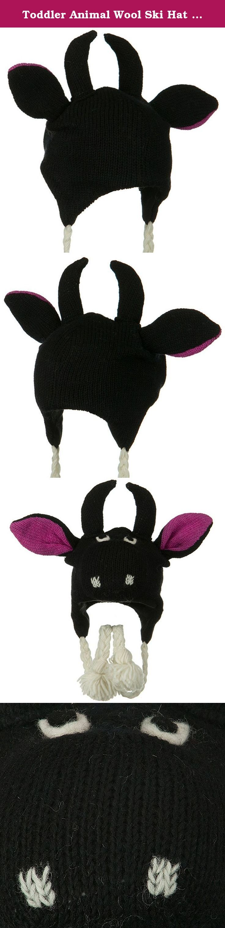 Toddler Animal Wool Ski Hat - Bull. Our Black Hot Pink Toddler Animal Wool Ski Hat is fun and cute style winter hat for any kinds of winter outdoor activities for your toddlers. Made with thick and chunky wool material with fully fleece lined inside, this ski beanie will keep your babies heads in cozy warmth all the time in cold weather. This toddler ski hat brings darling look on your toddlers as different animal features with cute animal ears and faces are sported on the front crown of...