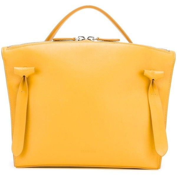 Jil Sander top zip tote (£595) ❤ liked on Polyvore featuring bags, handbags, tote bags, yellow, tote bag purse, zip top tote bag, yellow handbags, handbags tote bags and tote purses