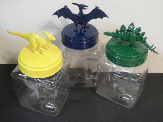 Boys Room Decor  Plastic Dinosaur Jarsset of 3 by myevilfriend, $15.00