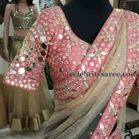 Elbow Length Mirror Work Blouse | Saree Blouse Patterns
