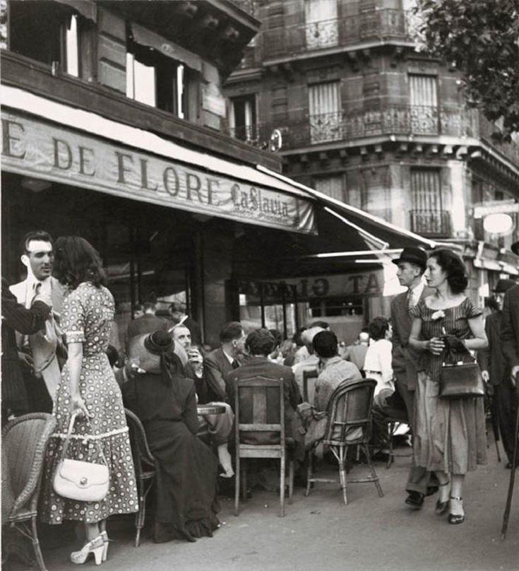 Cafe de Flore, Paris - 1949 - Photo by Robert Doisneau street fashion style vintage photo print ad women dress shoes purse 40s 50s