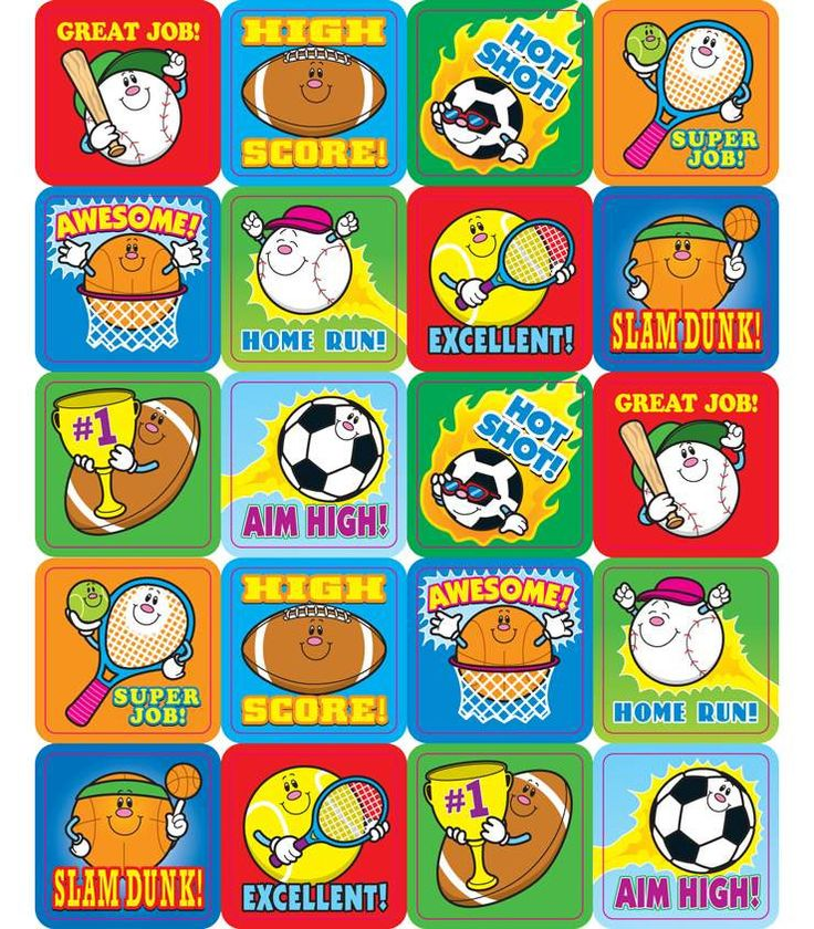 """Goooal! These fun sports-themed stickers are a small, fun way to brighten a student's day. Perfect for reward or recognition, these 1"""" x 1"""" motivational stickers come 120 per pack and are acid free an"""
