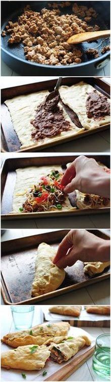 Easy Taco Crescent Calzones. Loaded With Turkey, Beans, & Cheese. Easy 30 Minute Dinner Recipe!