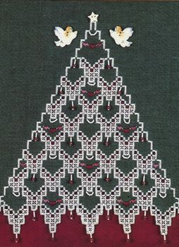 Lots of delightful Christmas hardanger patterns - the magnificent Christmas tree, tree ornaments, stocking cuffs and an afghan.