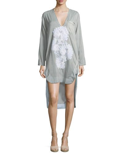 LILA.EUGENIE SCOOP-NECK LONG-SLEEVES STRIPED SHIRTDRESS WITH LACE. #lila.eugenie #cloth #