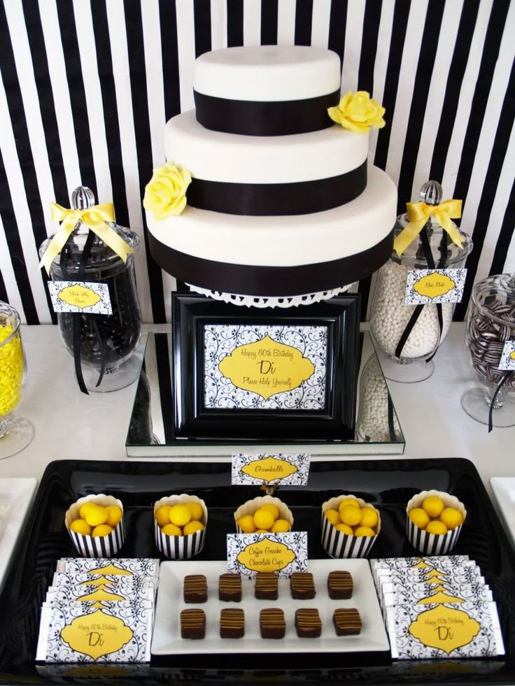 Eat drink pretty black white and yellow dessert table for Adult birthday decoration