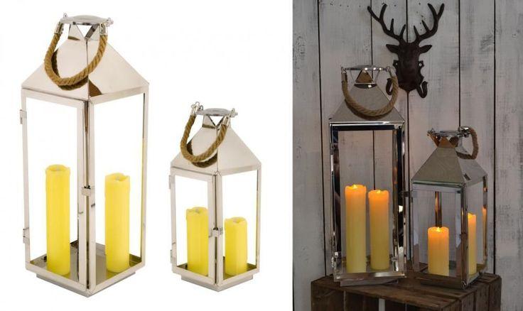 e2e Chatsworth 39 & 54cm Stainless Steel Garden Wedding Candle Holder Lantern