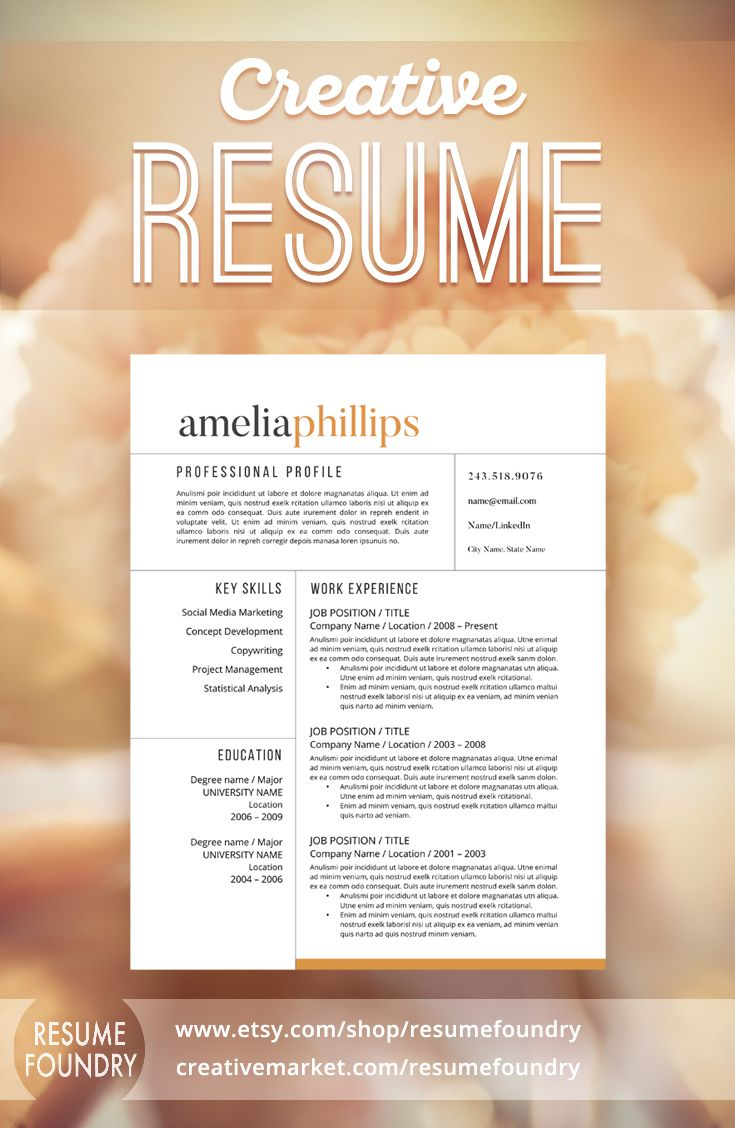 191 Best Modern Resume Templates Images On Pinterest Cv Template