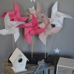 10 moulins à vent rose poudré rose vif fuchsia blanc - décoration chambre bébé fille enfant - décoration baptême - décoration mariage -  accessoires photobooth
