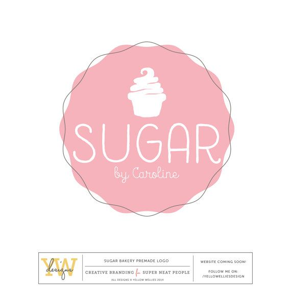 Pink Sugar Logo - Adorable logo for bakeries and cupcake makers.