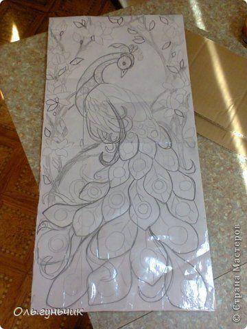 Картина панно рисунок Мастер-класс Моделирование конструирование Филигранный павлин МК Шпагат фото 4