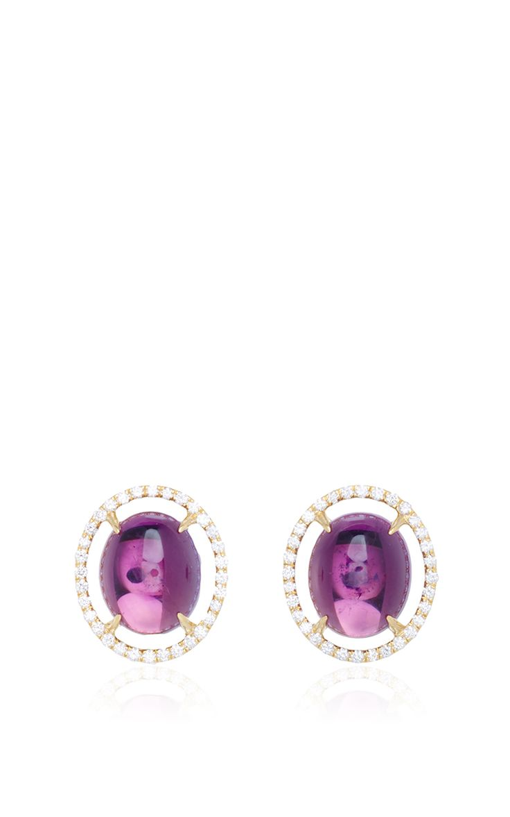 MO Exclusive: 18K Gold Diamond And Amethyst Earrings - Jordan Alexander Spring Summer 2016 - Preorder now on Moda Operandi