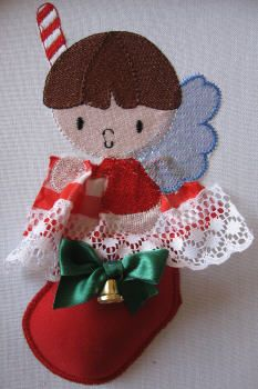BES415 - SINGLE: Christmas Angel Stocking2 The wings of this adorable Christmas Stocking Angel has been done in mylar for added 'shine' while the stocking has been done in using our Stump Work method.  These are perfect for all your Christmas projects and gifts! http://tinyurl.com/h5hun6j