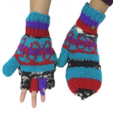 Woolen Winter Gloves Hand Knitted Blue Women Mittens Hand Accessory India