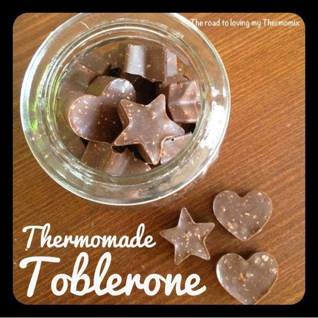 Thermomade Toblerone: I'm so excited by this! I feel like I'm a genius! The best thing about this is it's so easy! If you want a real Toblerone taste use a good quality Swiss chocolate. Lindt have a cooking range of chocolate. Any chocolate will work though for a chocolate nougat. Of course nothing beats the real Toblerone but this is delicious. Peta used her Almond, White Chocolate and Coconut Nougat recipe for the nougat.
