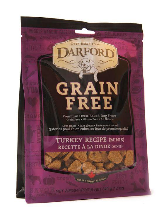 Gâteries pour chien sans grain Darford - recette à la dinde (minis) Les gâteries Darford sans grains associent une liste d'ingrédients savoureux y compris des patates douces, des carottes, des canneberges et des bleuets. Elles ne contiennent aucun maïs, soja ou autre ingrédients imprononçables, ni colorant, arôme ou agent de conservation.