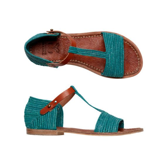 Boho chic raffia and leather sandals with ankle strap