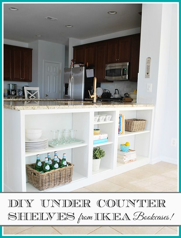These shelves filled unused space under a kitchen counter and provide great storage. They did this using IKEA Billy Bookcases--it wasn't that hard {full tutorial in post}. This space is so much better now!