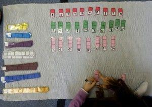 Vytváření násobkových řad. Barevné kódování podle montessori.