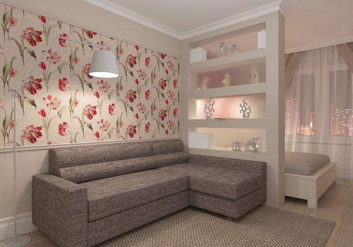 1) Панно из цветных обоев в рамке 2) 2 зоны в жилой комнате. Спальная зона ближе к окну