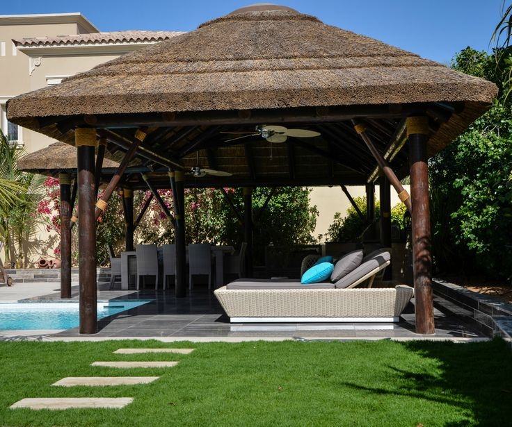 Outdoor Kitchen With Thatched Gazebo Outdoor In 2019: Thatched Gazebo With Seating & Dining Area. #Outdoor In