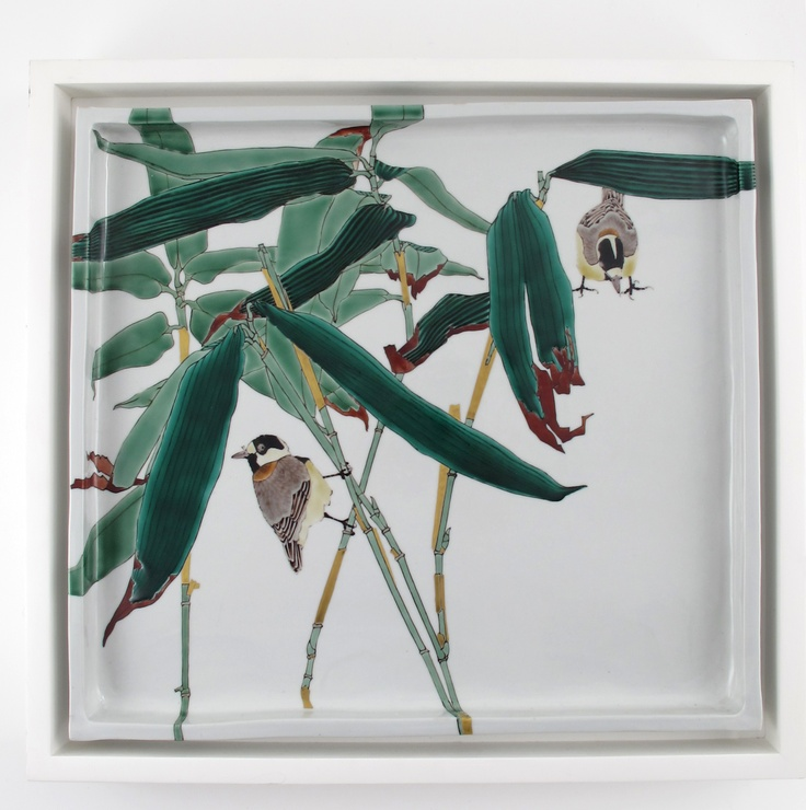 A modern large porcelain plaque by Jun Takegoshi, painted with finches perched on bamboo, enamelled in Kutani colours