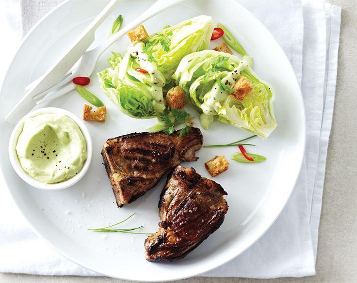 Lamb Chops with Iceberg Lettuce & Avocado Dressing Recipe | Beef + Lamb New Zealand