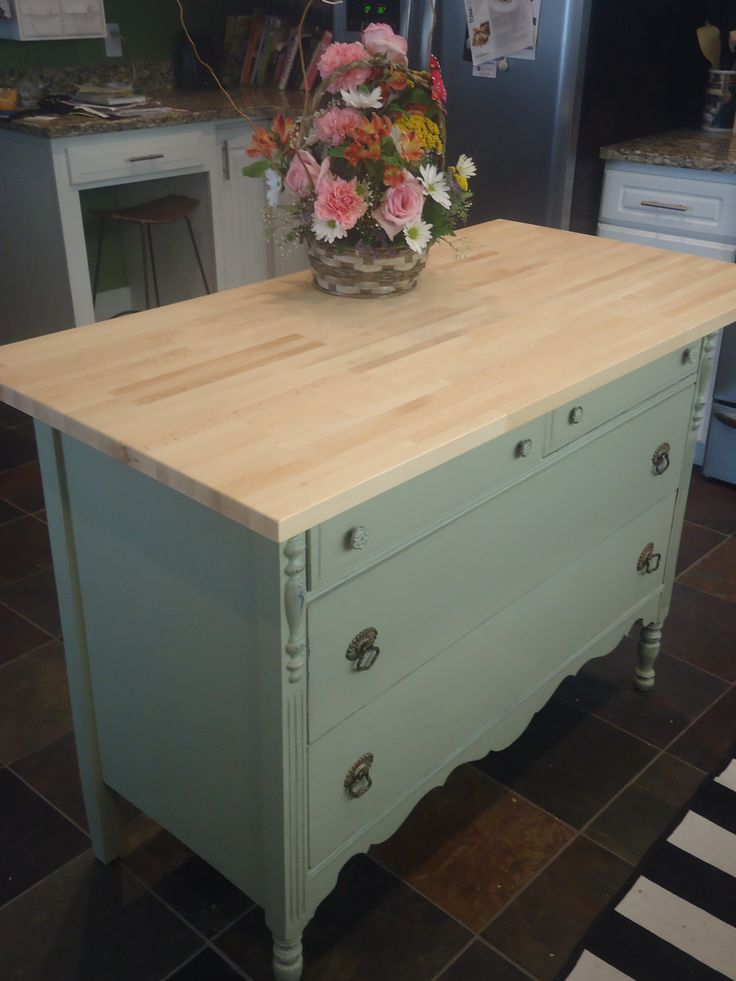 Old Dresser Turned Kitchen Island Folding Surface In Laundry Room