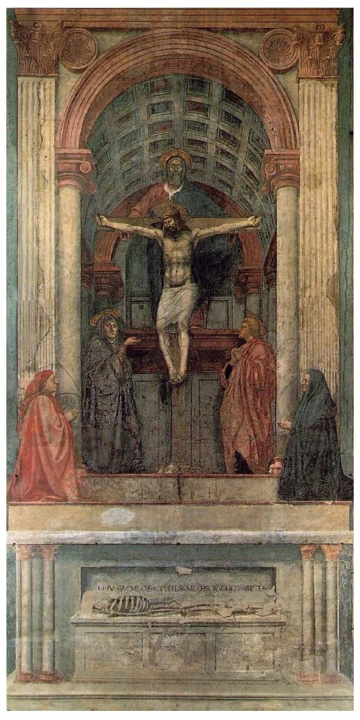 1425 Masaccio 'The Holy Trinity' Linear Perspective. Pyramidal scheme with single focal point. One point perspective, Christ as the main focal point all  visual leading to him. In Santa Maria Novella and painted into a position that took the viewer into account as well as the lighting. Like a stage set up.