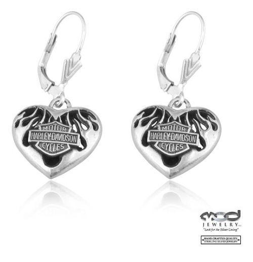 Harley-Davidson® Women's Sterling Silver Pierced Flame Heart Dangle Earrings.
